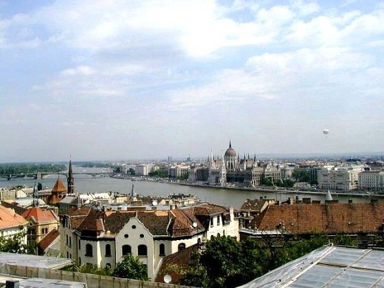 Budapest-View of Budapest and the Danube from Buda side
