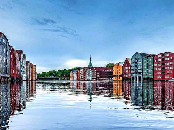 Trondheim-The wharves along the River Nidelva