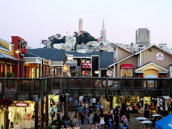 San Francisco-Pier 39- view of Coit Tower and Pyramid